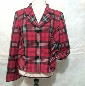Pendleton Plaid Red Black Blazer Jacket Wool Nice!